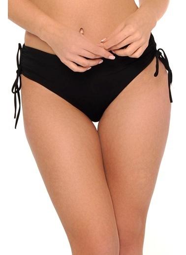 Reflections Mix Match Yandan Büzgülü Bağcıklı Düz Bikini Alt Siyah